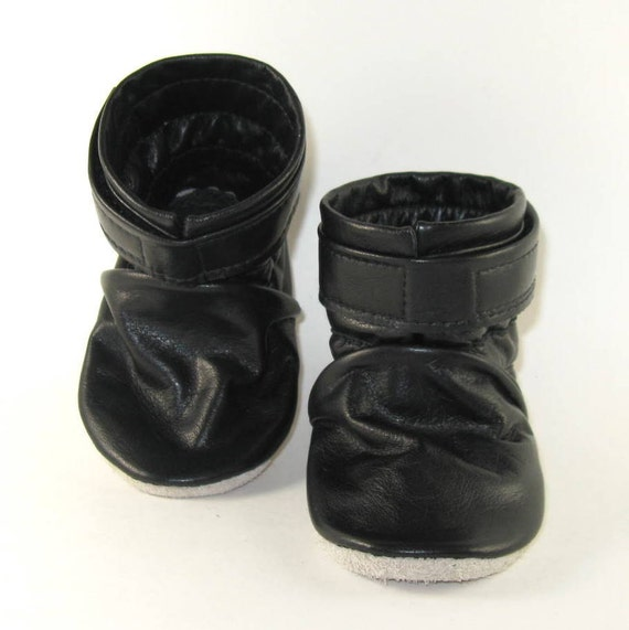 KaBoogie Wholesale, Black Reclaimed Leather, Baby Boots Baby Shoes