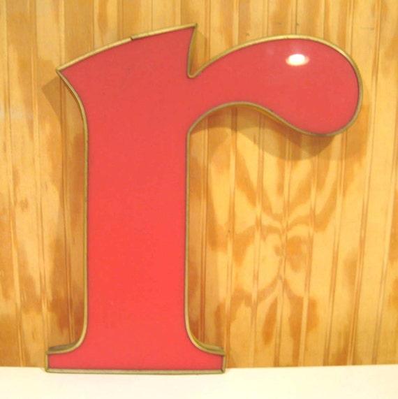 "Large Vintage Sign Plexiglass Wall Letter ""r"""