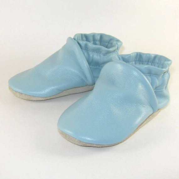 Soft Sole Blue Leather Baby Shoes 6 to 12 Month Eco Friendly