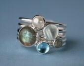 Moonlight on Water Stacking Rings Gemstone / Pearl