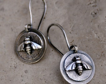 Honey Bee Bumble Bee Earrings Sterling Silver