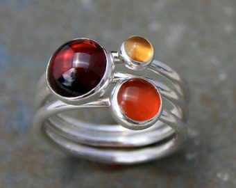 Maui Sunset Stacking Rings, Sterling Silver, Garnet Citrine Carnelian, Stackable Stack Ring Band, Cabochon Gemstone Jewel Wine Marsala