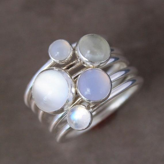 luminous stacking rings sterling silver gemstone stack of 5