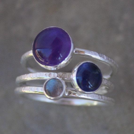 tyrian purple stacking rings purple amethyst iolite