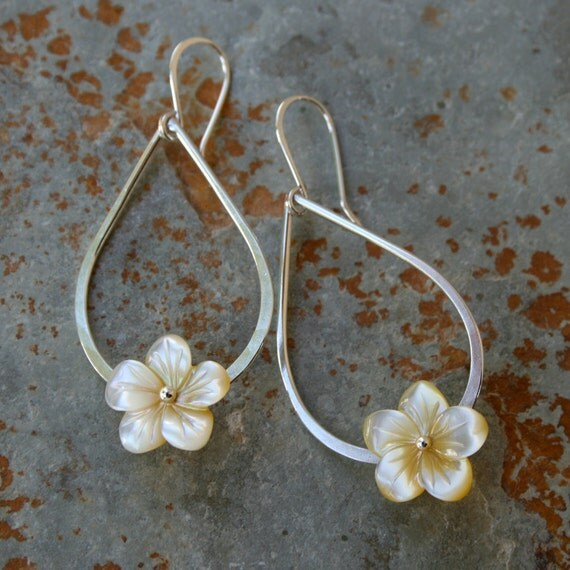 Plumeria Teardrop Sterling Silver Earrings, Hawaiian Frangipani, Mother of Pearl Carved Shell Flowers