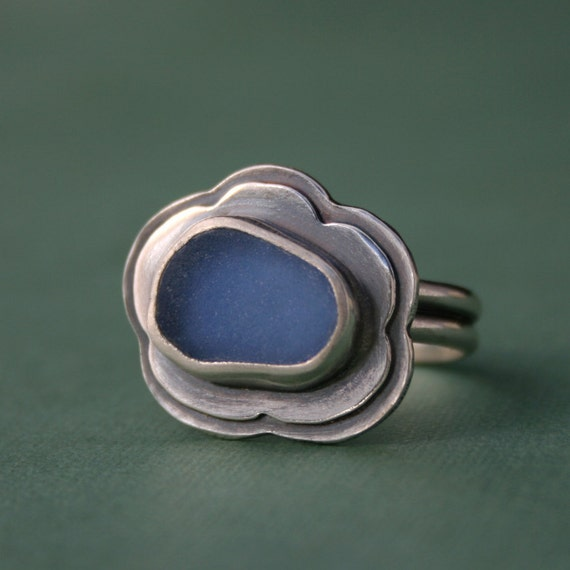 Reserved for shirleywoffinden Sea Glass Ring, Hawaiian Jewelry, Cornflower Blue, Sterling Silver, Hawaii Beach Glass