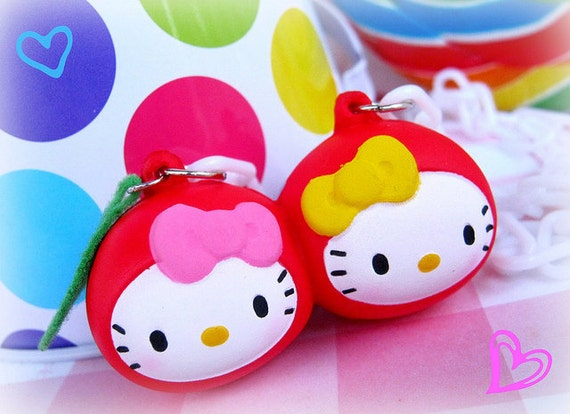 Hello kitty sweet cherries squishy necklace with white plastic chain