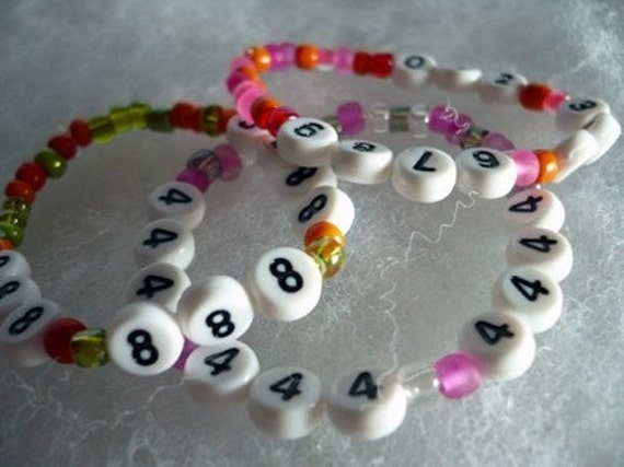Personalized Emergency phone number Bracelet security children vacation number beads