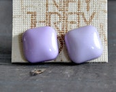 Recycled VIntage/ Shank Button Earrings/ Lavendar Square