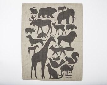 Animals Amassed Tea Towel