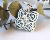 porcelain pendant - sterling silver chain - teal and white