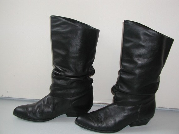 slouchy vintage 80s black leather boots