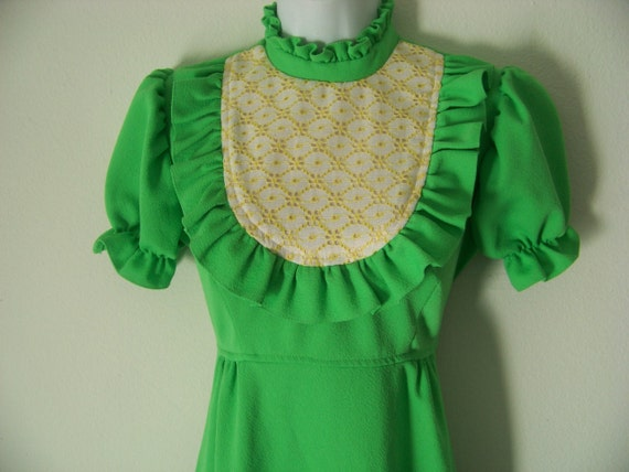 Sale 30% Off Vintage 70s Neon Green Full Length Maxi Dress with Puff Sleeves and Ruffles Floral Bib Size Small Medium