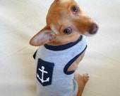 SMALL Sailor-Inspired Gray and Navy Dog Tank