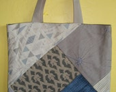 RESERVED FOR SUZANNEDESIGNS - Cream and blue patchwork tote