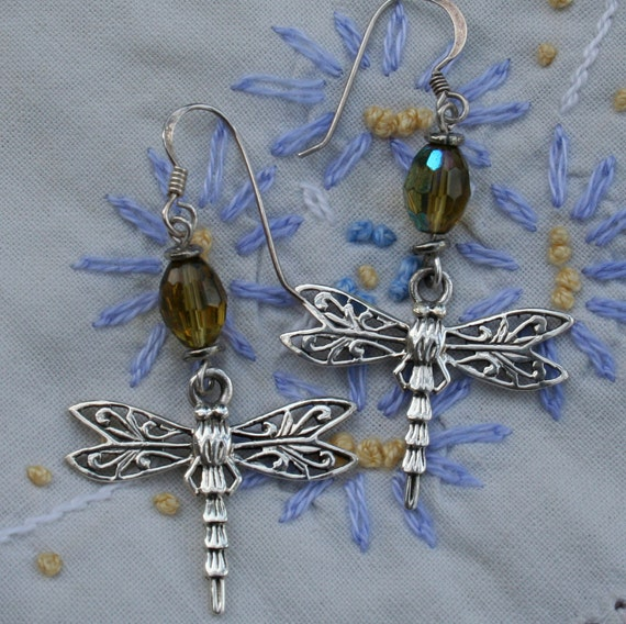 ON HOLD Dragonfly and glass dangle earrings