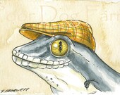 ACEO signed PRINT - Flying Gecko in a hat -