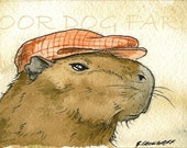 ACEO signed PRINT -Capybara in Pink