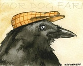 ACEO signed Print -Crow  with hat -