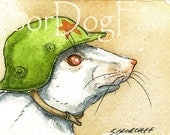 ACEO signed PRINT - The Test Animal Army -