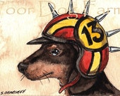 ACEO signed PRINT - Hounds in Helmets n0. 3