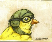 ACEO signed PRINT - Birds in helmets n0.2 -