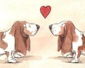 Basset Hound Love  -Original Watercolor painted print