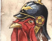 ACE0 signed PRINT - Rooster in a helmet