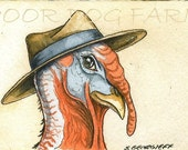 A Dapper Turkey with hat- 5 x 7 print