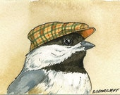 Little Chickadee with hat - 5 x 7 print