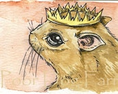ACEO signed PRINT -   Night Squirrel King