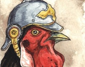 ACEO signed PRINT - Black Rooster in a helmet