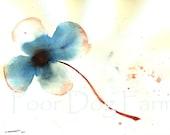 Red Stem Flower  - Original watercolor -