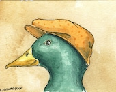 ACEO signed Print -Mallard  with hat -