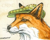 Red Fox  with hat - 5 x 7 print