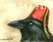 Crow in a Fez - ACEo signed Print -