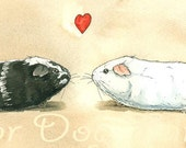 CUSTOM portrait of your pigs----- Guinea Pig Love  -Original Watercolor painted print
