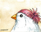 ACEO signed Print - White finch in a hat N0 2