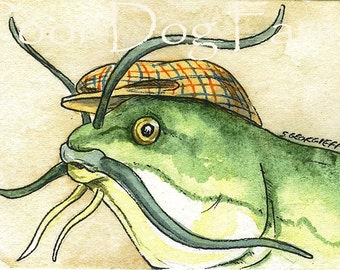 ACEO signed PRINT - BullHead Catfish in a Hat