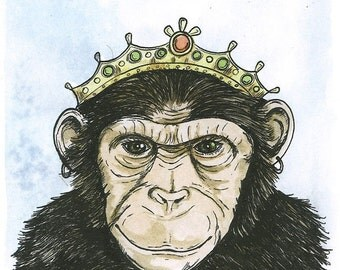 Chimp Queen 5x7 hand painted print
