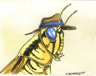 ACEO signed PRINT  Blue Eyed Grasshopper in a hat