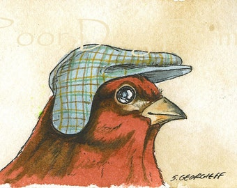 Cassin's Finch in a hat - Original ACEO Painting