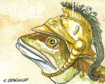 ACEO signed PRINT - Synodus Intermedius in a Helmet