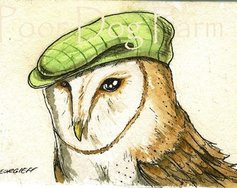 ACEO signed Print -Owl  with hat -