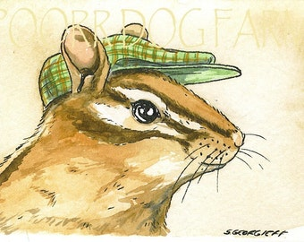 ACEO signed PRINT - Chipmunk with hat-