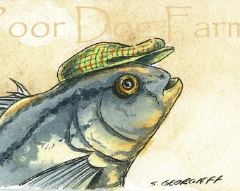 ACEO signed PRINT - Fathead in a Hat