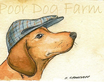 A Sausage Dog with a hat- print 5x7