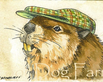 ACEO signed PRINT - Beaver in a hat