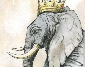Elephant King (an original 8x10 hand painted king)