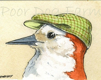 ACEO signed PRINT -Woodpecker with hat